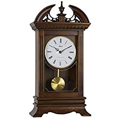Qwirly Hamilton Quartz Mantel Clock #42010 by Hermle - Large Walnut Chiming Carved Desk or Shelf Clock with Pendulum