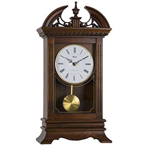 Qwirly Store: Hamilton Quartz Mantel Clock #42010 by Hermle - Large Walnut Chiming Carved Desk or Shelf Clock with Pendulum