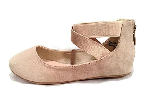 Anna Girl Kids Dress Ballet Flat Elastic Ankle Strap Comfortable Ballerina Taupe Synthetic Suede Shoes 13 US Little Kid