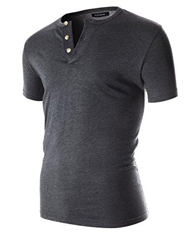 FLATSEVEN Mens Casual Short Sleeve Henley Shirt With Button