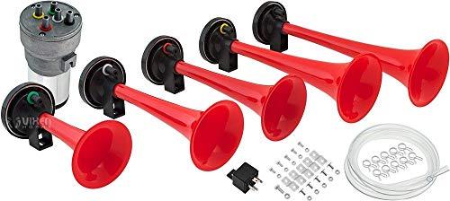 (Vixen Horns Loud 125dB 5/Five Trumpet La Cucaracha Musical/Music Sound Air Horn with Compressor Full Complete System/Kit Red 12V VXH6803R)
