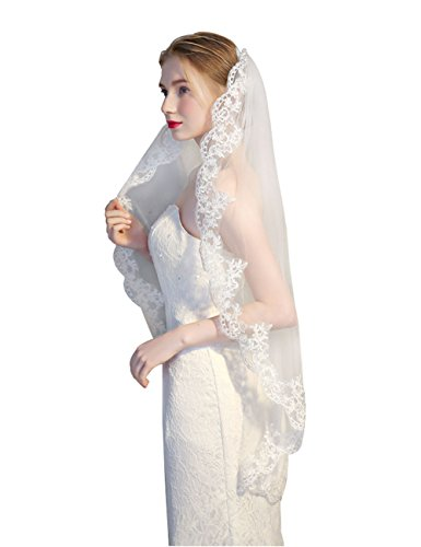 GRACIN Women's Lace Tulle Appliqued Edge Bridal Wedding Veil with Comb (One layer, White)