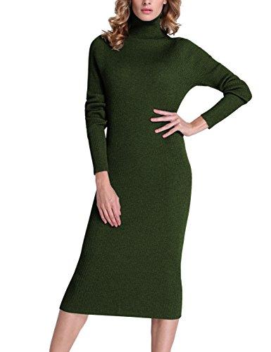 298e8006 Rocorose Women's Turtleneck Ribbed Elbow Long Sleeve Knit Sweater Dress