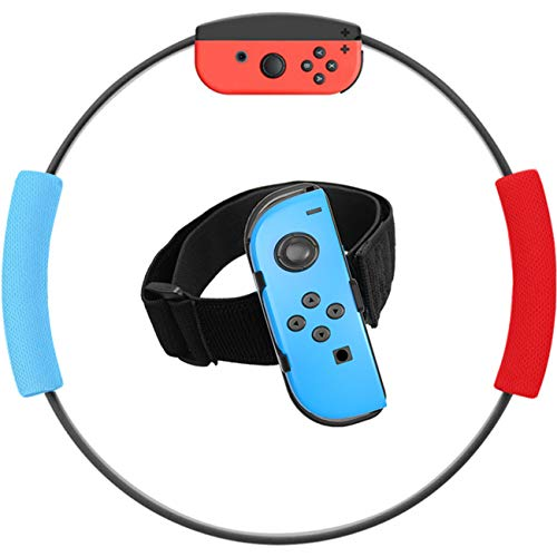 Ring-Con and Leg Strap for Switch Ring Fit Adventure Game, YIKESHU NS Yoga Fitness Ring and Elastic Sport Movement Band Compatible with Body Sensor Sports, Joy-Con Controllers, Adventure Accessories