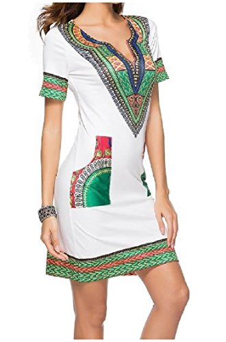 Print Short Digital White Women Fit African Coolred Dress Silm Sleeve Dashiki Neck V xYq0RqUpwI