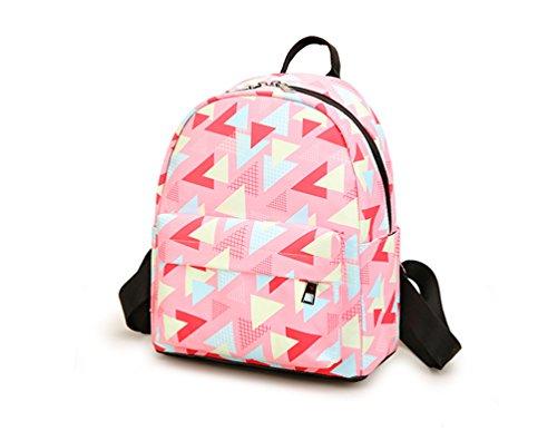 La Carrie Shop 0629# - Bolso mochila  para mujer azul II-navytreesmall FF-pinktrianglesmall