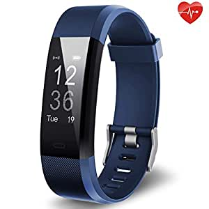 Fitness Tracker Yuanguo YG3 Plus Activity Tracker Sports Watch Smart Bracelet Pedometer Fitness Watch with Heart Rate Monitor/GPS/Step Counter/Sleep Monitor for Android and iOS (Blue)