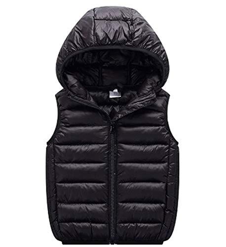 (LANBAOSI Boys Girls Winter Hooded Puffer Vest Kids Lightweight Sleeveless Jacket Black)
