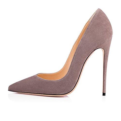 120MM Haut Talon Grande Sexy Taille Chaussures Aiguille Heels Suède Escarpins High Talon Femmes Stilettos Gris uBeauty qPS40z