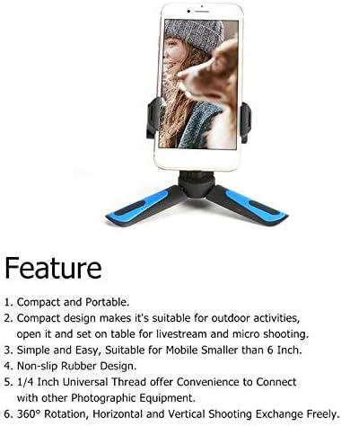 Non-slip Mini Tripod Phone Holder Stand Flexible Camera Video Tripod Holder for Digital DSLR Camera Blue