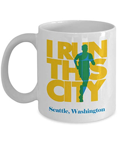 I Run Seattle City, Washington Coffee & Tea Gift Mug, Souvenirs, Accessories And Long Distance Marathon Running Themed Gifts For Men & Women Runners