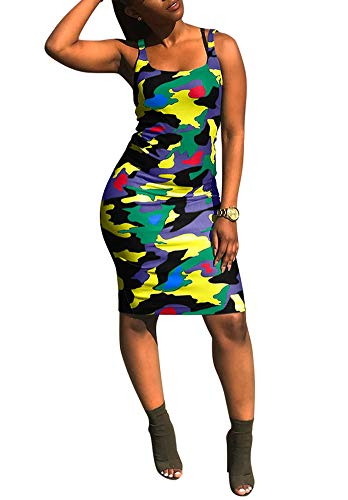 Women Spaghetti Strap Dress - Sexy Summer Tube Bodycon Rainbow Striped Pencil Party Clubwear XL