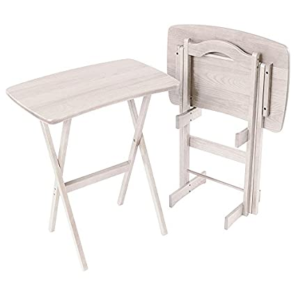 Charmant Manchester Wood Contemporary Folding TV Tray Table Set Of 2   Rustic  Whitewash