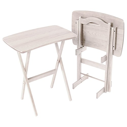 Manchester Wood Contemporary Folding TV Tray Table Set of 2 - Rustic Whitewash by Manchester Wood: American Made Furniture