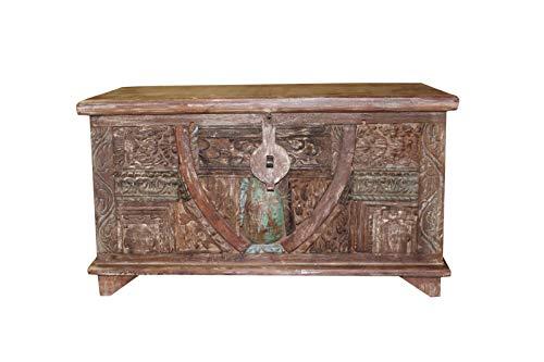 Wood Carved Trunk - Mogul Interior Antique Indian Hand Carved Storage Trunk Gorgeous Vintage Original Teak Wood Chest