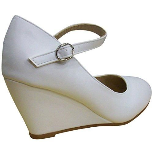 Bella Marie Donna Denise-2 Cinturino Alla Caviglia Con Zeppa Bianca
