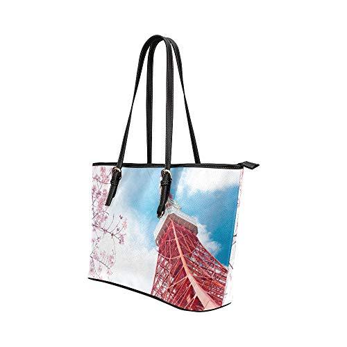 Axelväskor flickor vacker skylt byggnad Tokyo Tower läder handväskor väska orsaksala handväskor dragkedja axel organiserare för dam flickor kvinnor handväska