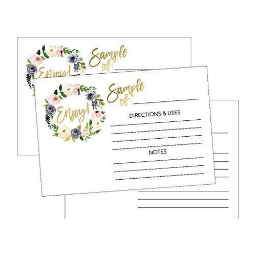 25 4x6 Floral Essential Oils Sample Cards, For Sample Bottle Containers, Box, Pack, Set, Kit, Bags, Packets, Case, Holder Sampler Labels Distributor Party Business Supplies