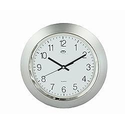 Telesonic Silver Quartz Wall Clock Quiet Sweep 13 Inch