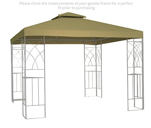 Kenley 2-Tier 10x10 Replacement Gazebo Canopy Awning Roof Top Cover - Waterproof 250g Canvas – 10' x 10' – Beige (2 Tier Gazebo)