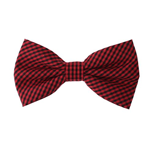 DBD3C02E Red Black Plaid Microfiber Xmas Day Gift Pre-tied Bow Tie By Dan (Christmas Plaid Bow Tie)