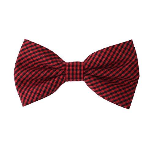 DBD3C02E Red Black Plaid Microfiber Xmas Day Gift Pre-tied Bow Tie By Dan (Christmas Plaid Bow Tie)