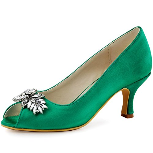 ElegantPark HP1540 Women Pumps Comfort Heel Peep Toe Leaf Rhinestones Satin Evening Prom Wedding Shoes Green US 9