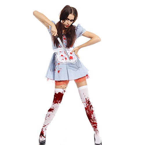 Ladies Horror Zombie Dorothy Costume Fairytale Halloween Outfit Fancy Dress