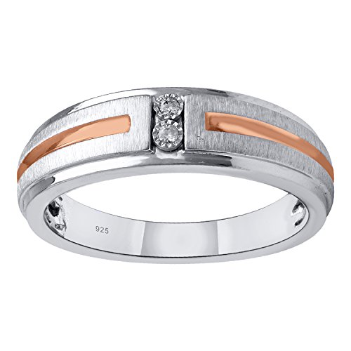 Sterling Silver and Rose Gold Plate Diamond Accent Men's Wedding Ring by Diamante