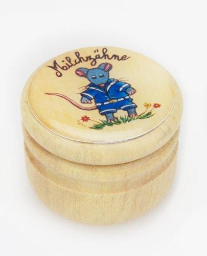 Zahndose Holz - Milchzahndose aus Holz mit blauem Mausmotiv Gico