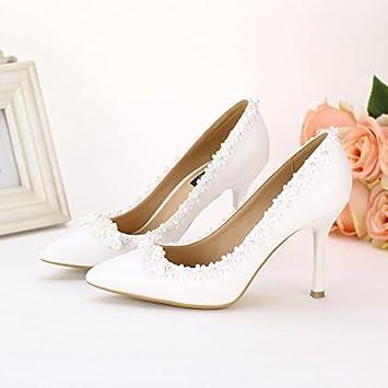 Xie Frauen Hochzeit Schuhe/Brautjungfer und Braut/Lace Flower/Stiletto Ferse/spitz/hochhackigen Sandalen/weiß...