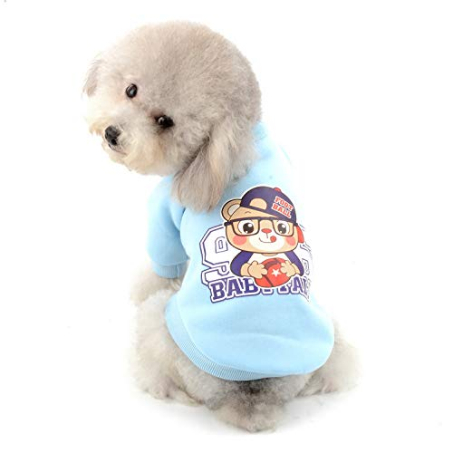 SELMAI Dog Basic Sweatshirt Fleece Lined Pullover 2 Legs Warm Cotton Coat Sweat Shirt Pullover for Small Pet Puppy Cat Doggy Autumn Winter Chihuahua Yorkie Apparel Blue XL