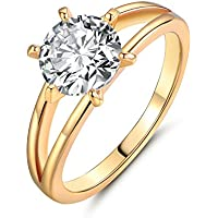 Promsup Retro Princess Diamond Sapphire Yellow Gold Filled Women Lady Engagement Rings (8)
