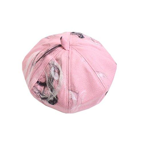 Rose Drap Motif Chapeau Automne Hiver Femme Citrouille Acvip Béret Lavis EwCzw4Sq