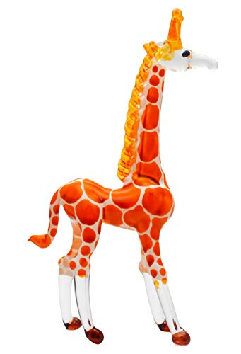 Zoo Craft Hand Blown Glass Figurine Cute Giraffe Handmade Miniature Animal Art