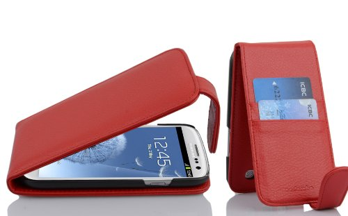 with Samsung Galaxy S3/S3 NEO in CANDY APPLE RED (Design FLIP SCTRUCTURE) – with 2 Card Slots – Case Etui Cover Pouch PU Leather Flip ()