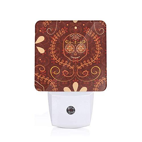 (Autumn Sugar Skulls_10107 Plug-in LED Night Light Lamp with Light Sensor, Auto On/Off, Energy)