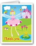 Young Fairy Princess & Castle Blank Thank You Note Cards - 10 Boxed Cards & Envelopes