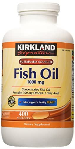 Kirkland Signature Fish Oil Concentrate with Omega-3 Fatty Acids, 400 Softgels, 1000mg