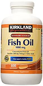 Kirkland Signature Natural Fish Oil Concentrate With Omega-3 Fatty Acids, 400 Softgels, 1000Mg by Kirkland