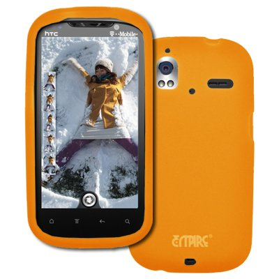 EMPIRE HTC Amaze 4G Orange Silicone Skin Case Étui Coque Cover Couverture + Voiture Chargeur (CLA)