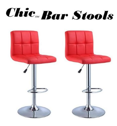 Red Retro Swivel Stool (Chic Modern Adjustable Synthetic Leather Swivel Bar Stools - Bright Red - Set of 2)