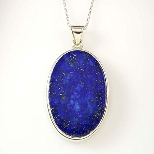 Sterling Silver Genuine Oval Dark Blue Lapis Lazuli Medallion Handmade Pendant 18+2 inches Chain (Height 1.1 inches Large Size)