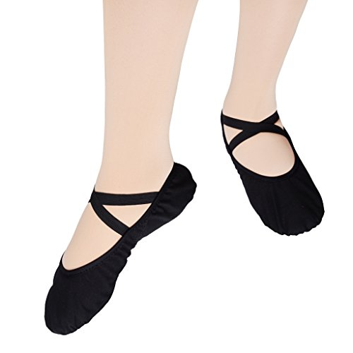 KUKOME-SHOP Canvas Ballet Shoe Girls' Ballet Flat Split Sole Different Sizes for Children and Adults (EU41/US7.5=10.43