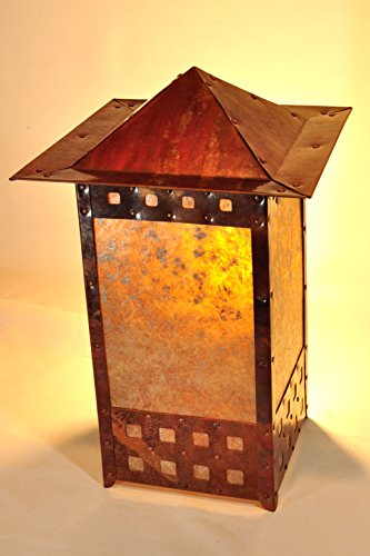 Copper and Mica Tall Square Table Lantern Craftsman Mission Bungalow Arts Crafts Revival
