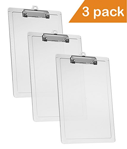 """Acrimet Clipboard Letter Size A4 (13 3/8"""" x 9 7/16"""") Low Profile Clip with Side Rulers (Plastic) (Crystal Color) (3 Pack)"""