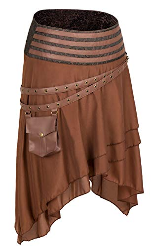 Alivila.Y Fashion Womens Steampunk Gothic Skirt Pirate Skirts 31710-Brown-L -