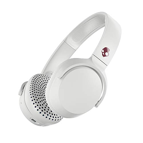 Skullcandy Riff Bluetooth On-Ear Headphones with Quick Charge 10-Hour Long Battery Life, BT Wireless Microphone, Foldable, Plush Ear Cushions with Durable Headband, White and Crimson