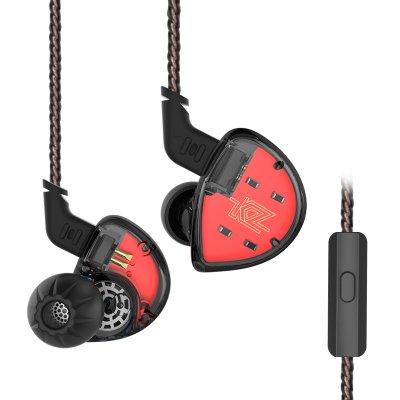 (KZ ES4 Hybrid HiFi Bassy In-ear Headphones/Earphones/Earbuds (Black with Mic))