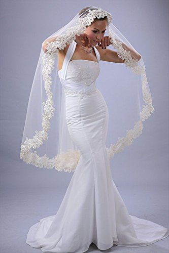 Bridal Wedding Mantilla Veil White 1 Tier Long Knee Length Beaded Lace Edge by Velvet Bridal (Image #2)